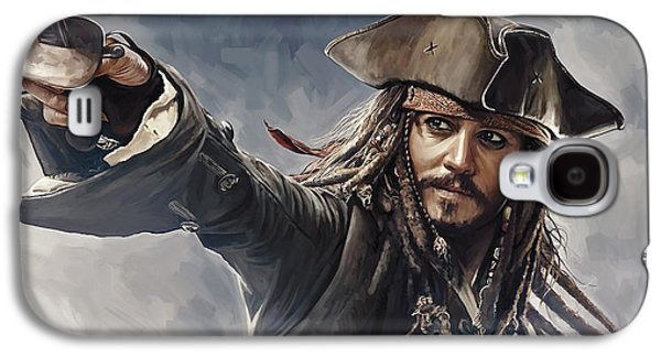 Pirates Of The Caribbean Johnny Depp Artwork 2 Galaxy S4 Case by Sheraz A