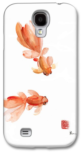 Pisces Zodiac Fishes Orange Red  Pink Fish Water Goldfish Watercolor Painting Galaxy S4 Case by Johana Szmerdt