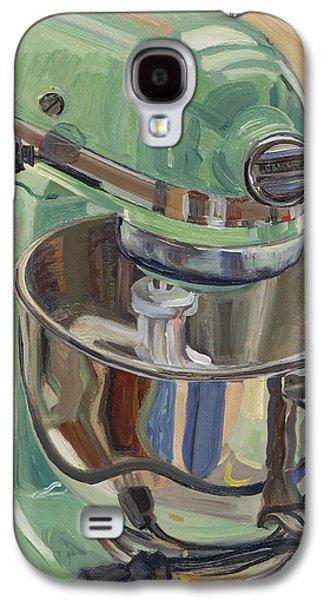 Pistachio Retro Designed Chrome Flour Mixer Galaxy S4 Case by Jennie Traill Schaeffer