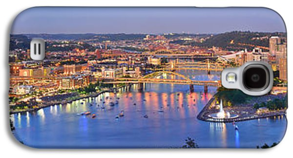 Downtown Galaxy S4 Case - Pittsburgh Pennsylvania Skyline At Dusk Sunset Extra Wide Panorama by Jon Holiday