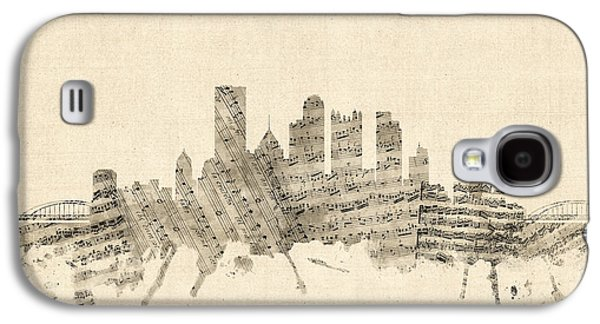 Pittsburgh Pennsylvania Skyline Sheet Music Cityscape Galaxy S4 Case by Michael Tompsett
