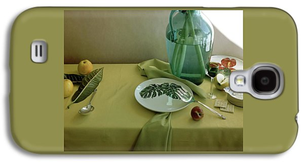 Plates, Apples And A Vase On A Green Tablecloth Galaxy S4 Case by Horst P. Horst
