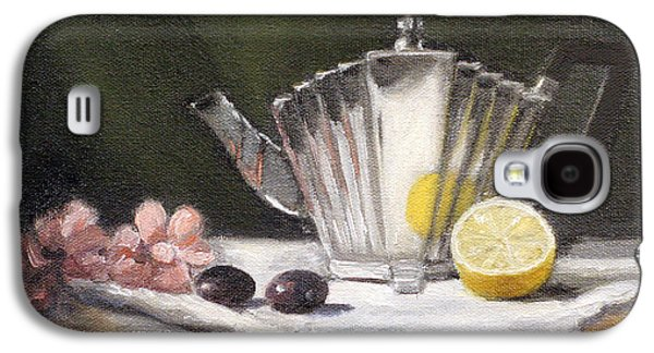 Grapes Art Deco Galaxy S4 Cases - Pleated Teapot with Lemon Galaxy S4 Case by Sarah Parks