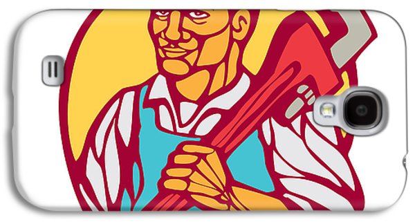 Plumber Carry Wrench Circle Woodcut Linocut Galaxy S4 Case