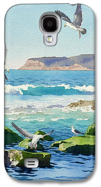 Seagull Galaxy S4 Case - Point Loma Rocks Waves And Seagulls by Mary Helmreich