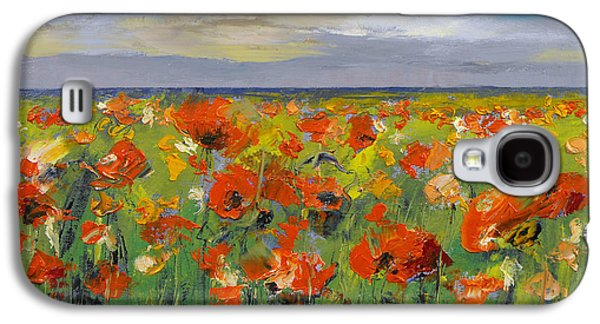 Poppy Field With Storm Clouds Galaxy S4 Case by Michael Creese
