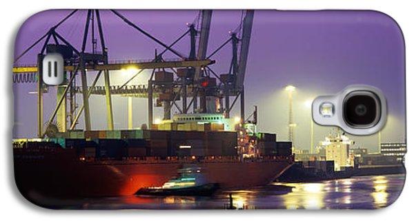 Port, Night, Illuminated, Hamburg Galaxy S4 Case by Panoramic Images