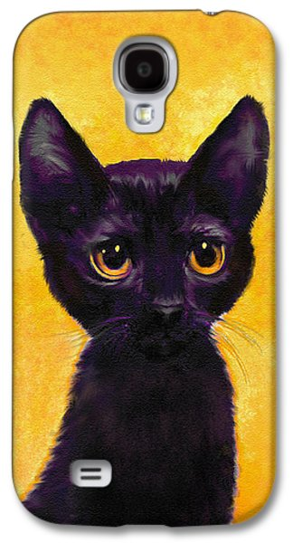 portrait of a small black cat named  LuLu Galaxy S4 Case by Jane Schnetlage