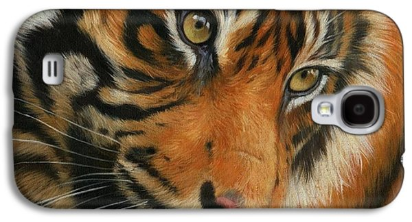 Portrait Of A Tiger Galaxy S4 Case by David Stribbling