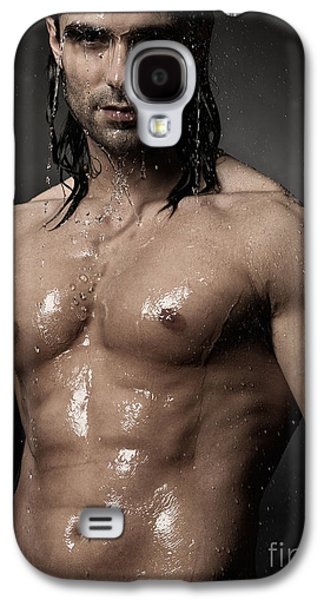 Portrait Of Man With Wet Bare Torso Standing Under Shower Galaxy S4 Case