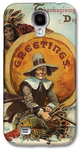 Postcard Of Pilgrim Plucking A Turkey Galaxy S4 Case by American School