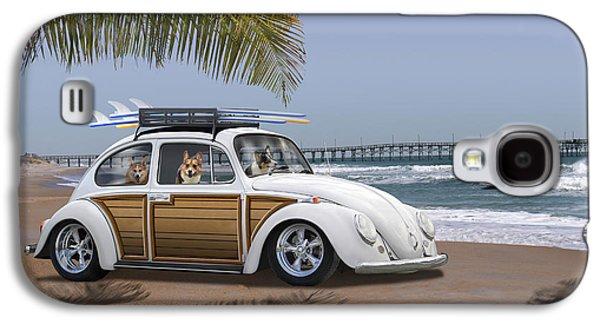 Beetle Galaxy S4 Case - Postcards From Otis - Beach Corgis by Mike McGlothlen