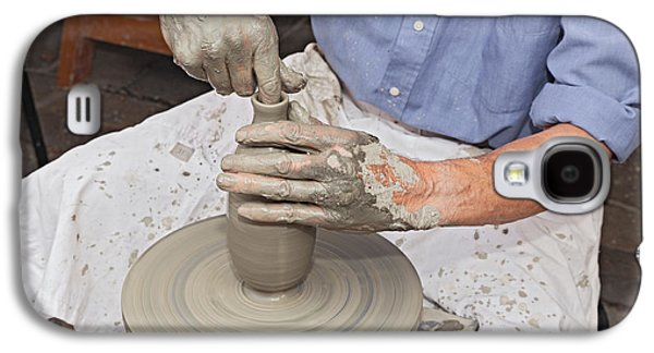 Potter Shaping Clay On A Potter's Wheel  Galaxy S4 Case by Ermess Images