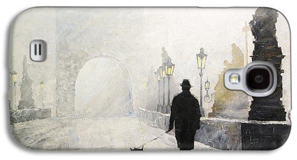 Prague Charles Bridge Morning Walk 01 Galaxy S4 Case by Yuriy Shevchuk