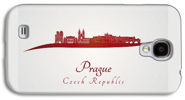 Prague Skyline In Red Galaxy S4 Case