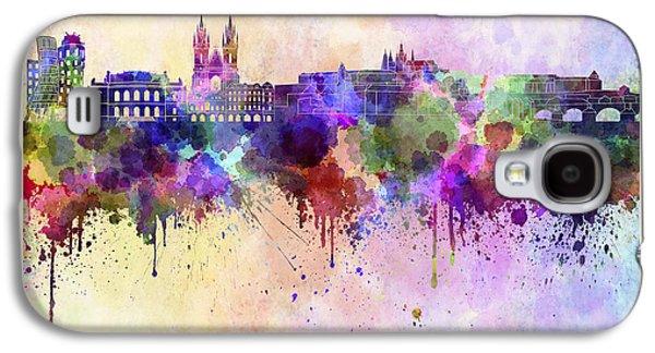 Prague Skyline In Watercolor Background Galaxy S4 Case