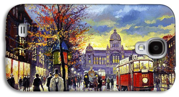 Prague Vaclav Square Old Tram Imitation By Cortez Galaxy S4 Case by Yuriy  Shevchuk