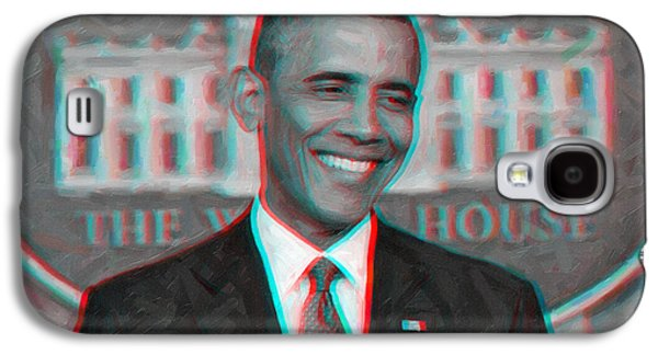 President Barack Obama In 3d Galaxy S4 Case by Celestial Images