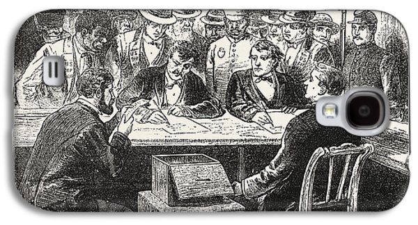 Presidential Election, Counting The Votes, Engraving 1876 Galaxy S4 Case by American School