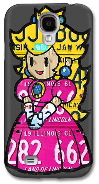 Princess Peach From Mario Brothers Nintendo Recycled License Plate Art Portrait Galaxy S4 Case by Design Turnpike