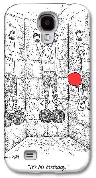 Dungeon Galaxy S4 Case - Prisoner In Dungeon Has Orange Balloons Attached by Robert Mankoff