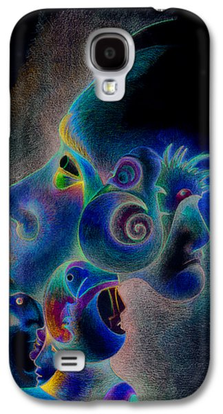 Blue Abstracts Drawings Galaxy S4 Cases - Profile Galaxy S4 Case by Bodhi