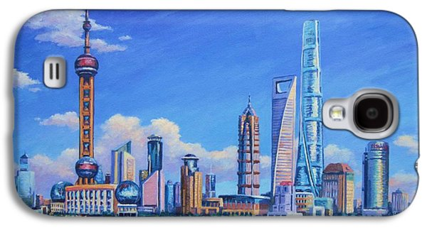 Pudong Skyline  Shanghai Galaxy S4 Case by John Clark