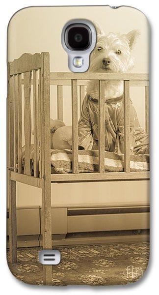 Puppy Dog In A Baby Crib Galaxy S4 Case by Edward Fielding