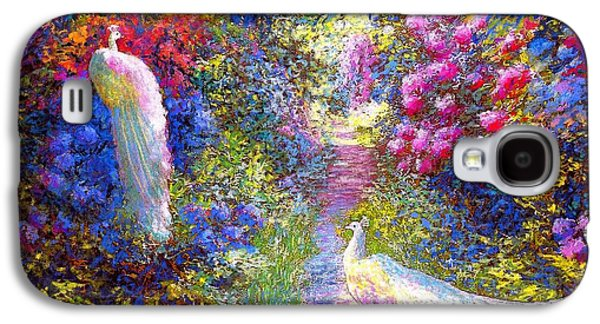 Impressionism Galaxy S4 Case -  White Peacocks, Pure Bliss by Jane Small