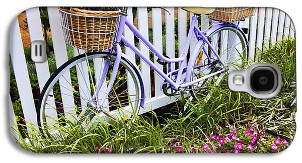 Bicycle Galaxy S4 Case - Purple Bicycle And Flowers by David Smith
