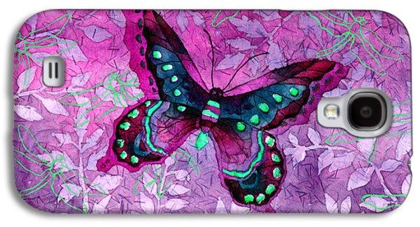 Purple Butterfly Galaxy S4 Case by Hailey E Herrera