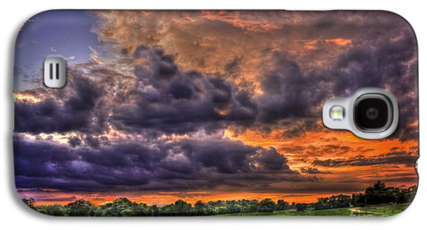 Purple Haze Clouds At Sunset Over The Hayfield Galaxy S4 Case