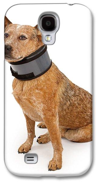 Queensland Heeler Dog Wearing A Neck Brace Galaxy S4 Case by Susan Schmitz