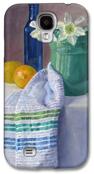 Quiet Moment- Daffodils In A Blue Green Pitcher With Lemons Galaxy S4 Case by Bonnie Mason