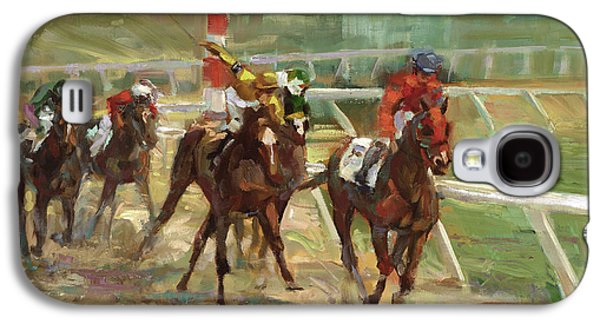 Race Horses Galaxy S4 Case by Laurie Hein