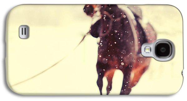 Horse Galaxy S4 Case - Race In The Snow by Jenny Rainbow