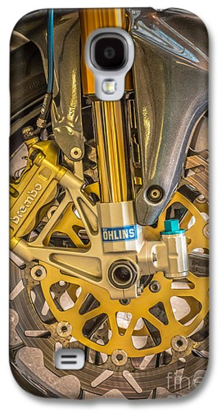 Racing Bike Wheel With Brembo Brakes And Ohlins Shock Absorbers Galaxy S4 Case by Ian Monk