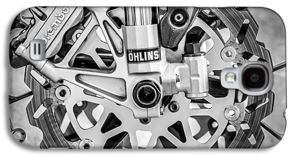 Racing Bike Wheel With Brembo Brakes And Ohlins Shock Absorbers - Square - Black And White Galaxy S4 Case by Ian Monk