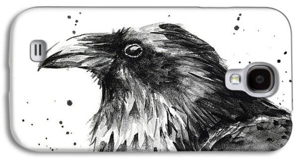 Raven Watercolor Portrait Galaxy S4 Case by Olga Shvartsur
