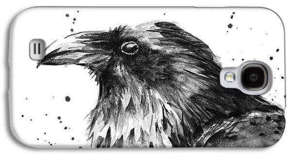 Crow Galaxy S4 Case - Raven Watercolor Portrait by Olga Shvartsur