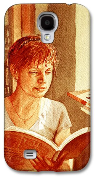 Galaxy S4 Case featuring the painting Reading A Book Vintage Style by Irina Sztukowski