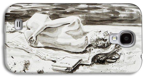 Reclining Nude Study Resting At The Beach Galaxy S4 Case by Irina Sztukowski