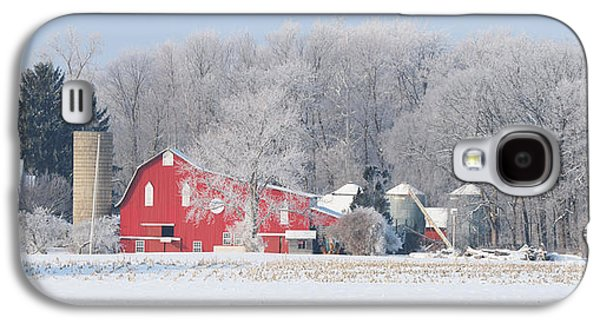 Whitehouse Galaxy S4 Case - Red Barn Frosty Morning Panorama1 by Jack Schultz