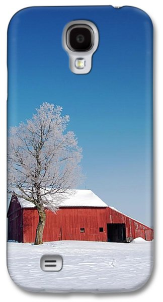 Red Barn In Snow Galaxy S4 Case