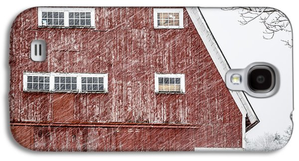 Red Barn Whiteout Galaxy S4 Case by Edward Fielding