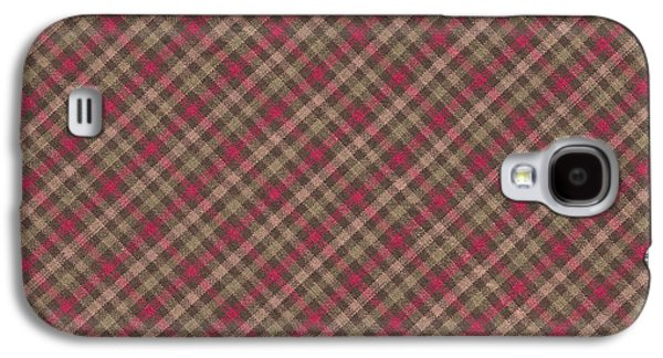 Red Brown And Green Diagonal Plaid Pattern Fabric Background Galaxy S4 Case by Keith Webber Jr