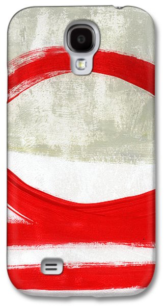 Red Circle 4- Abstract Painting Galaxy S4 Case by Linda Woods