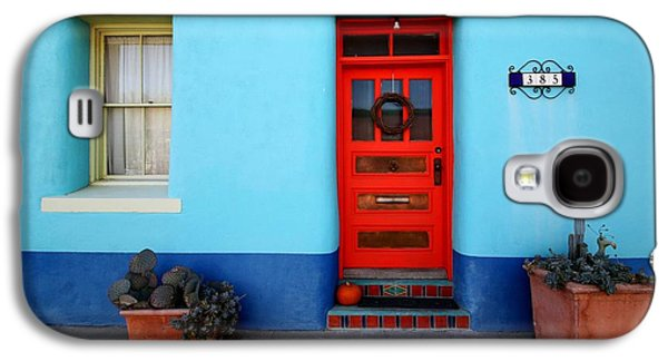 Red Door On Blue Wall Galaxy S4 Case