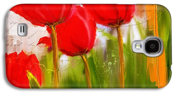 Red Enigma- Red Tulips Paintings Galaxy S4 Case by Lourry Legarde