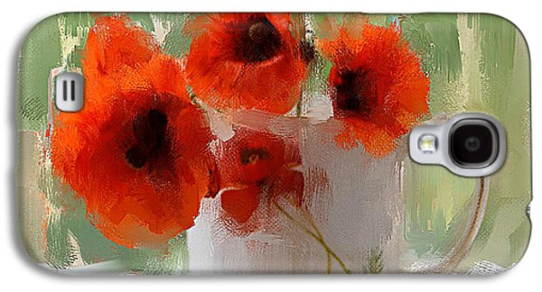 Red Flowers In A Cup Galaxy S4 Case by Yury Malkov